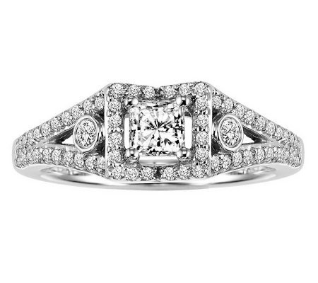 Cushion Shape Cluster Diamond Ring, 14K, 7/8cttw by Affinity