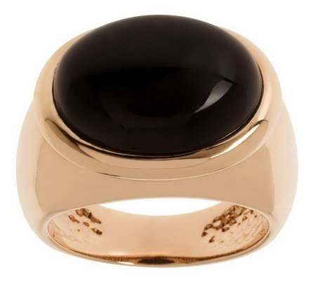 Bronzo Italia Bezel-Set Oval Gemstone Band Ring