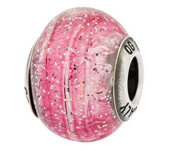 Prerogatives Sterling Pink Glitter Italian Murano Glass Bead - J312796