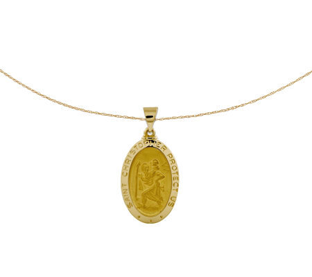 "Polished Saint Christopher Pendant w/ 18"" Chain, 14K Gold"