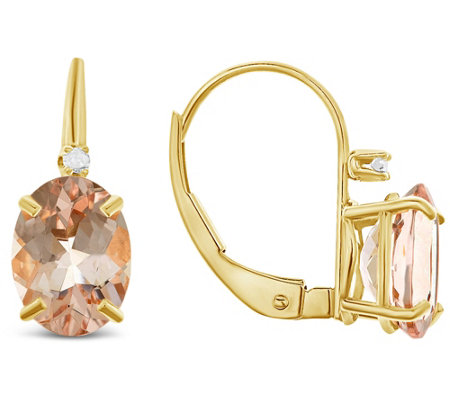 14K Yellow Gold Oval Morganite Diamond Accent Earrings