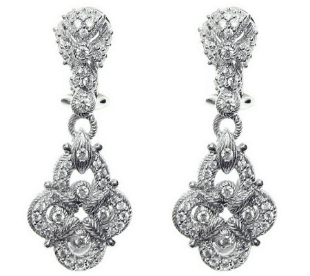 Judith Ripka Sterling Diamonique Pave Earrings