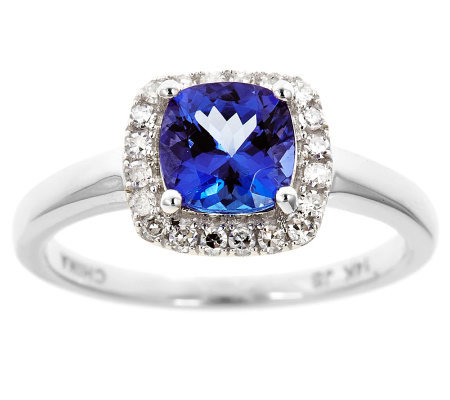 Cushion Tanzanite & 1/5 ct tw Diamond Halo Ring, 14K Gold