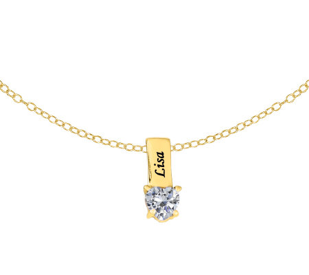 24K Gold-Plated Sterling Birthstone Name Pendant w/ Chain