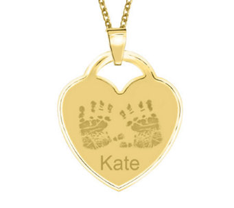 24K Gold Plated Sterling Handprint Heart Pendant w/ Chain - J315496