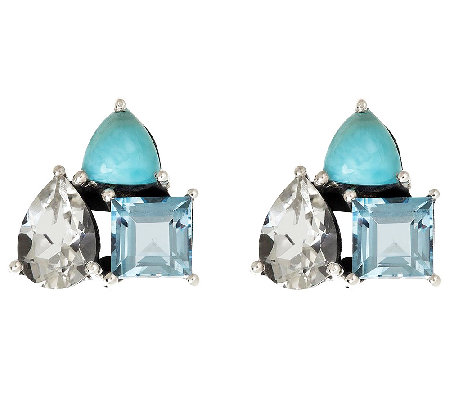 Sterling Larimar and Multi-Topaz Cluster Earrings