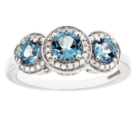 Sterling Silver 0.95 cttw Blue Topaz & 1/8 cttwDiamond Ring