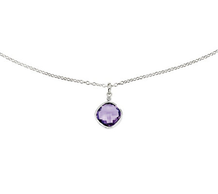 "Sterling Cushion-Cut Gemstone Pendant with 18""Chain"