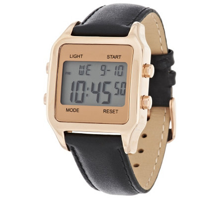 Bronzo Italia Bold Digital Cushion Dial Leather Strap Watch