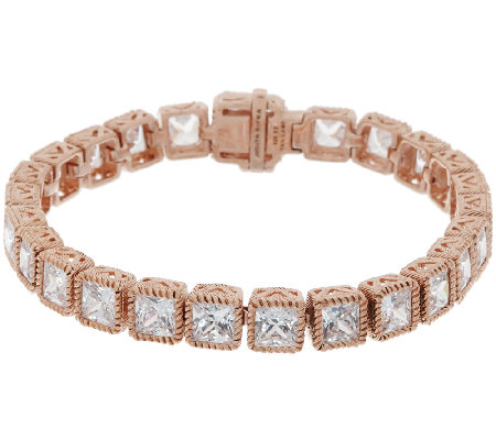 "Judith Ripka Sterl &14K Rose Gold 6-3/4"" Diamonique Tennis Bracelet"