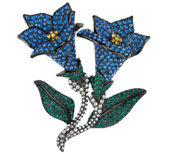 Joan Rivers Jeweled Blossoms Pave' Bluebells Pin - J318696