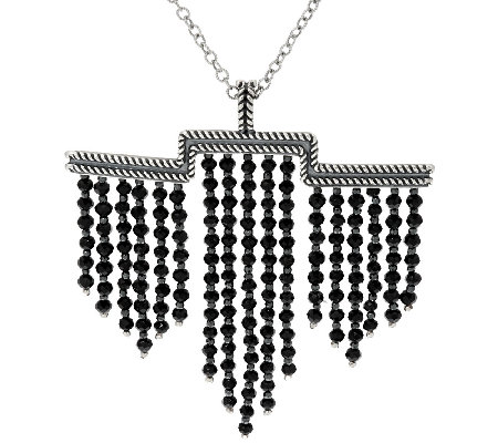 American West 48.0 Cttw. Black Spinel Sterling Silver Necklace