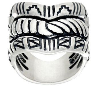 Sterling Silver Chevron Triple Row Ring by American West - J323896
