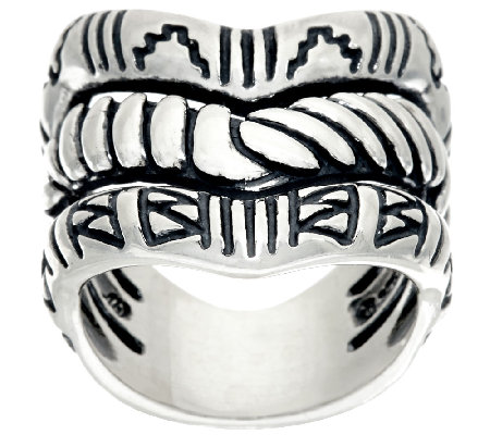 Sterling Silver Chevron Triple Row Ring by American West