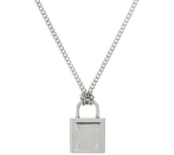 "Stainless Steel Lock Pendant with 18"" Chain - J324196"
