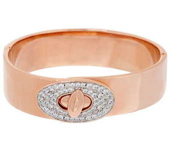 Bronzo Italia Crystal Turnlock Clasp Hinged Bangle Bracelet - J325796