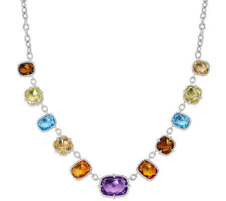 Judith Ripka Sterling 44.0 cttw Multi Gemstone Necklace