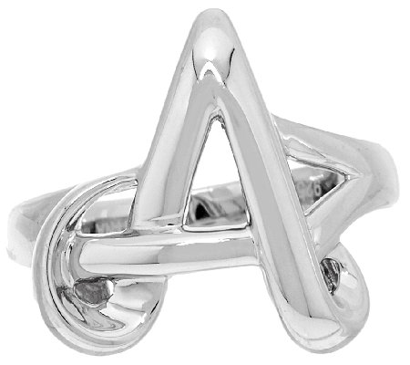 """As Is"" Sterling Silver Initial Ring By Silver Style"
