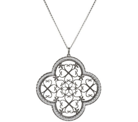 """As Is"" Vicenza Silver Sterling Pave' Glitter Pendant w/18"" Chain"