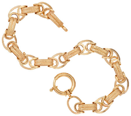 """As Is"" 14K Gold 7-1/4"" Dimensional Byzantine Bracelet, 6.4g"