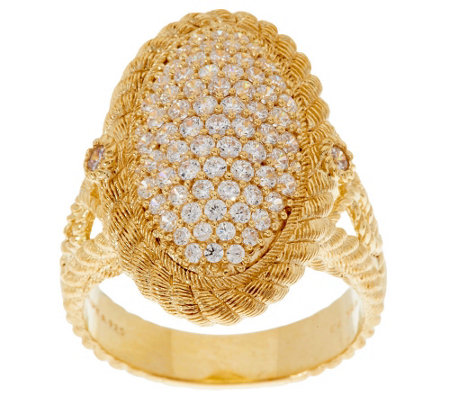 """As Is"" Judith Ripka 14K Gold Clad 1.30 ct Pave Diamonique Cocktail Ring"