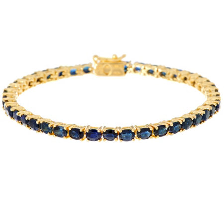 "Colors of Sapphire Sterling/14K 7-1/4"" Bracelet 6.50 cttw"