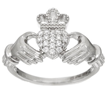 Diamonique 1/7 cttw Claddagh Ring, Sterling - J329496