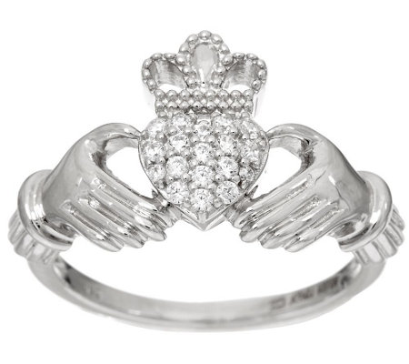 Diamonique 1/7 cttw Claddagh Ring, Sterling