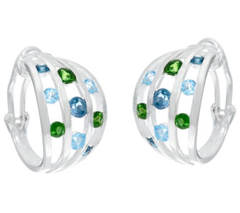 Franco P Sterling Memories 2.40 cttw Gemstone Hoop Earrings - J330296