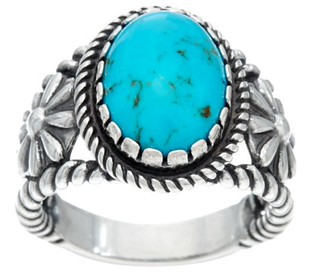 Sterling Silver & Oval Gemstone Ring w/Flower Accents by American West
