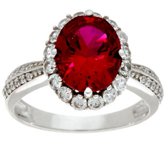 Diamonique & Oval Cut Simulated Ruby Ring, Platinum Clad - J330596