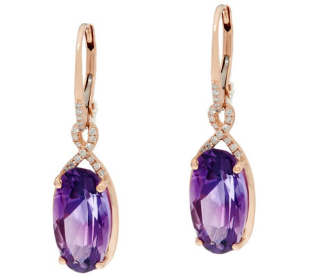 Uruguayan Amethyst & Diamond Drop Earrings, 14K 7.50 cttw