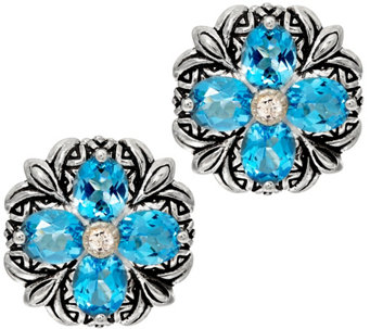 """As Is"" Barbara Bixby Sterling & 18K Gemstone Flower Button Earrings - J331196"