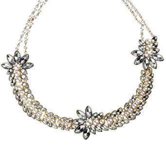 """As Is"" Luxe Rachel Zoe Simulated Stone & Simulated Pearl Necklace - J331296"