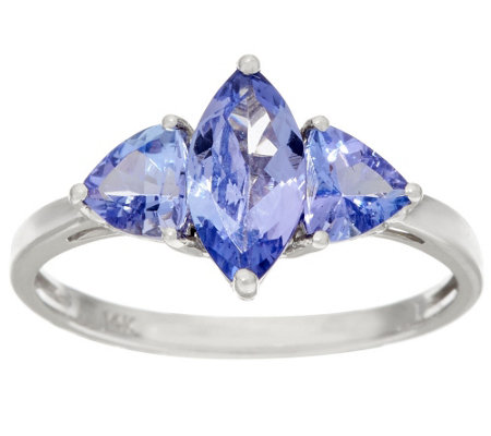 """As Is"" Tanzanite 3- Stone Multi-Cut Ring, 14K Gold 1.70 cttw"