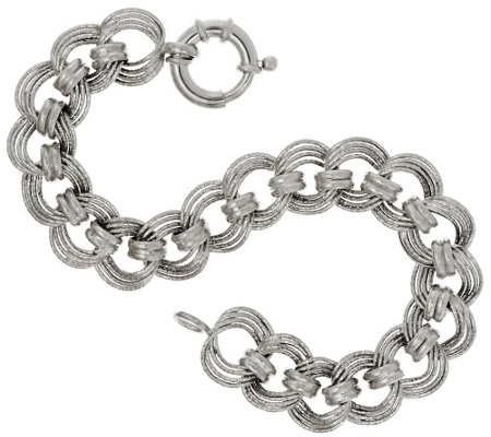 """As Is"" Vicenza Silver Sterling 8"" Diamond Cut Status Curb Link Bracelet"