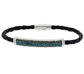 """As Is"" Pave' Diamond Leather Bracelet, Sterling, 1/2 cttw, Affinity - J332696"