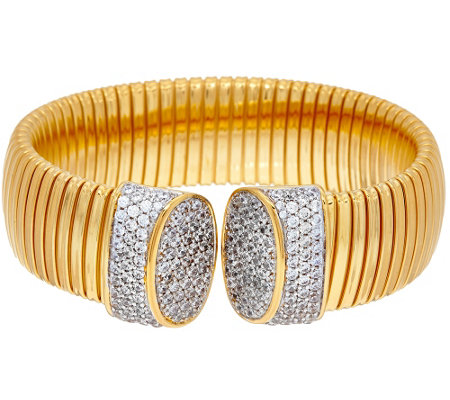 """As Is"" Bronze Pave' Crystal Tubogas Cuff Bracelet by Bronzo Italia"