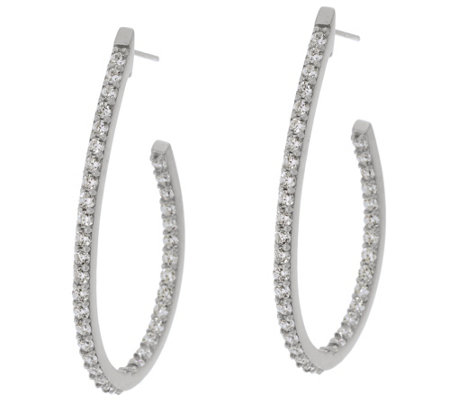 """As Is"" Diamonique 1.45 cttw Oval_Hoop 1-1/2"" Earrings Sterling"