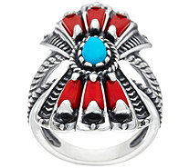Sterling Silver Red Coral and Turquoise Fan Ring by American West - J334696
