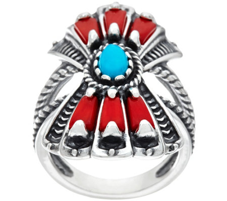 Sterling Silver Red Coral and Turquoise Fan Ring by American West