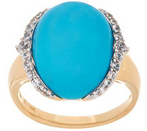 Sleeping Beauty Turquoise and White Zircon Ring, 14K Gold - J347996