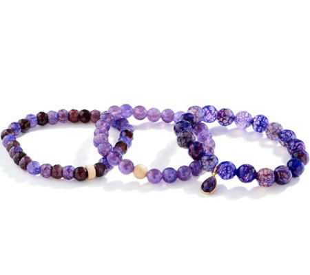 Dee Berkley Set of Three Amethyst Bracelets