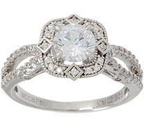 Diamonique 1.10ct tw Intricate Design Ring Sterling - J349996