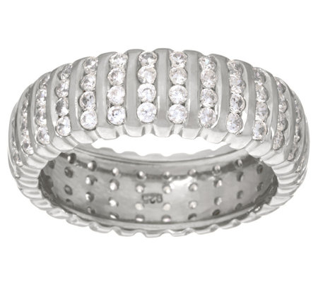 """As Is"" Diamonique 1.50 cttw Channel Set Eternity Band, Sterling"