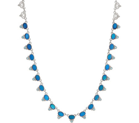 Judith Ripka Sterling Doublet  & Blue Topaz Necklace