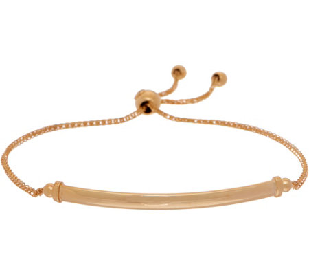 Italian Gold Polished Bar Adjustable Bracelet