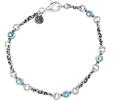 """As Is"" Sterling Silver Gemstone Bracelet by Or Paz"