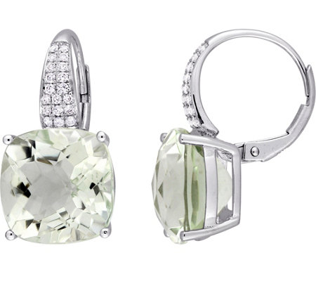 14K 13.50 cttw Green Amethyst & 1/5 cttw Diamond Earrings