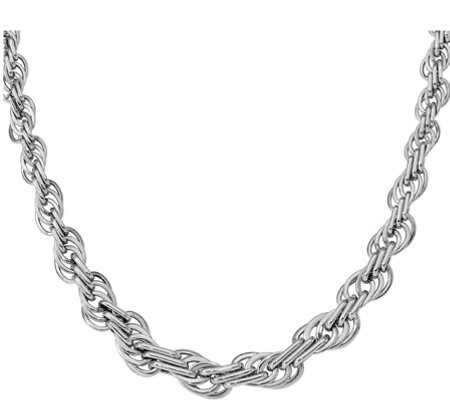 "14K White Gold Graduated Loose Rope 18"" Necklace, 14.3g"